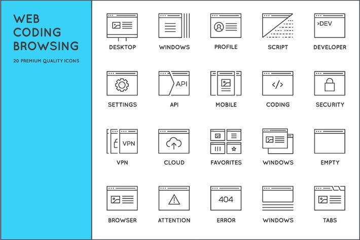 Thumbnail for Awesome Web, Coding, Browsing Icons
