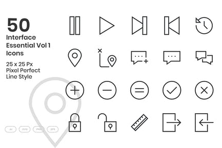 50 Interface Essential Icons Vol 1 - Line