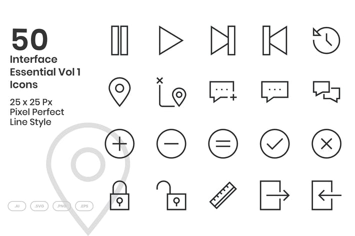 Thumbnail for 50 Interface Wesentliche Icons Vol 1 - Linie