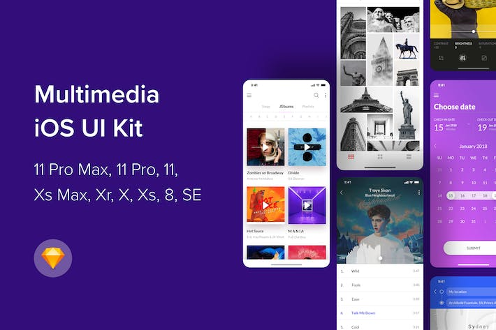 Thumbnail for Multimedia iOS UI Kit (Sketch)