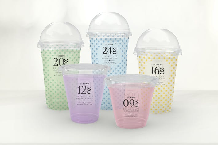Clear Cold Drink Cups Packaging Mockup By Ina717 On Envato
