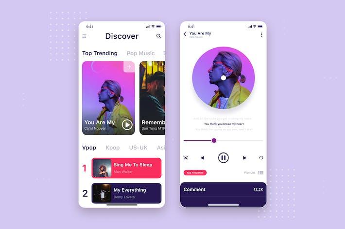 Thumbnail for Music app mobile UI concept