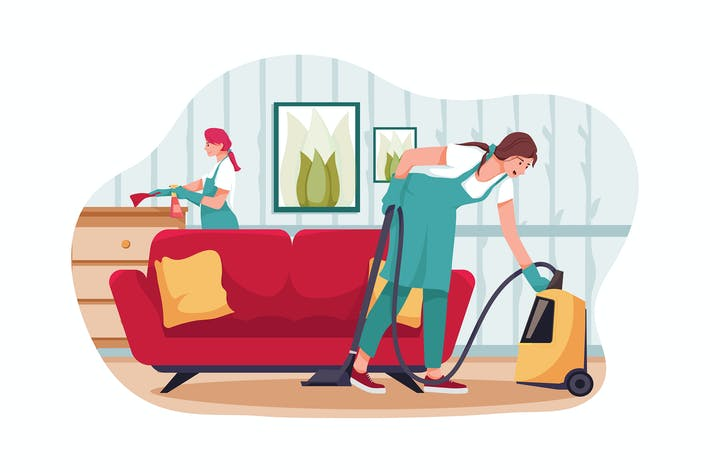 Cleaning team tidying up living room illustration