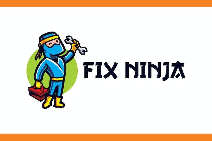 Thumbnail for Cartoon Handyman Ninja Holding Wrench Mascot Logo