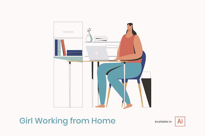 Thumbnail for Girl Working from Home Illustration