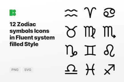 Fluent system filled - Zodiac symbols