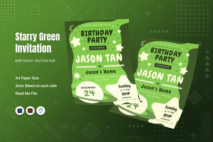 Starry Green Birthday Invitation