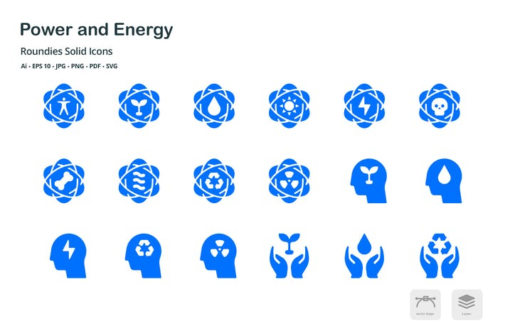 Thumbnail for Energy and Power Roundies Solid Glyph Icons