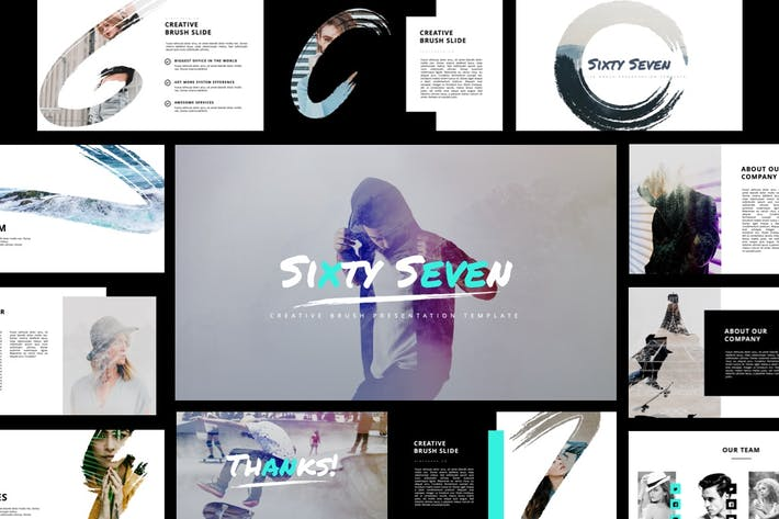 Thumbnail for Sixty Seven - Creative Brush Powerpoint Template