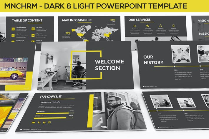 Thumbnail for Mnchrm - Dark & Light Powerpoint Template