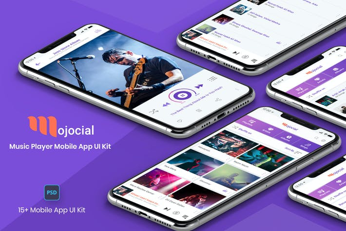 Thumbnail for Mojocial-Music Player Mobile App UI Kit