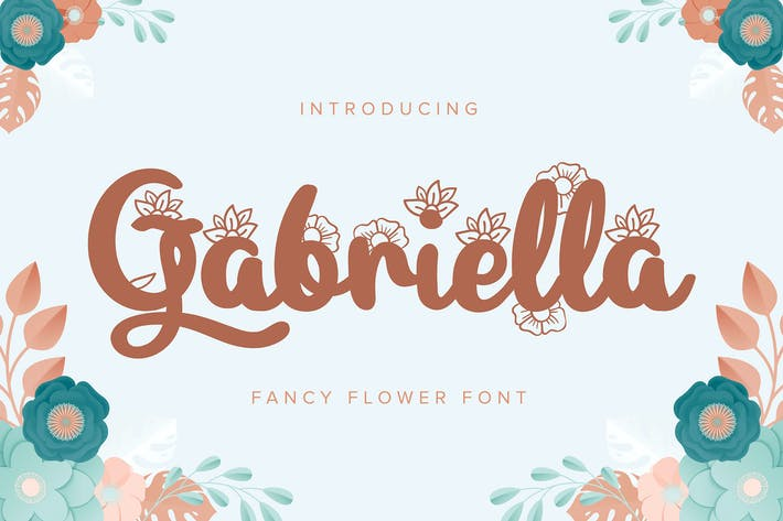 Thumbnail for Gabriella   Fancy Flower Font