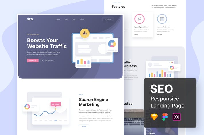 Cover Image For SEO Responsive Landing Page