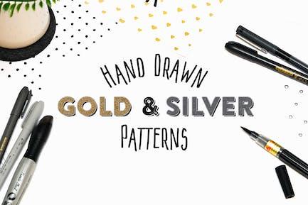 15 Patrones de oro y plata dibujados a Mano.