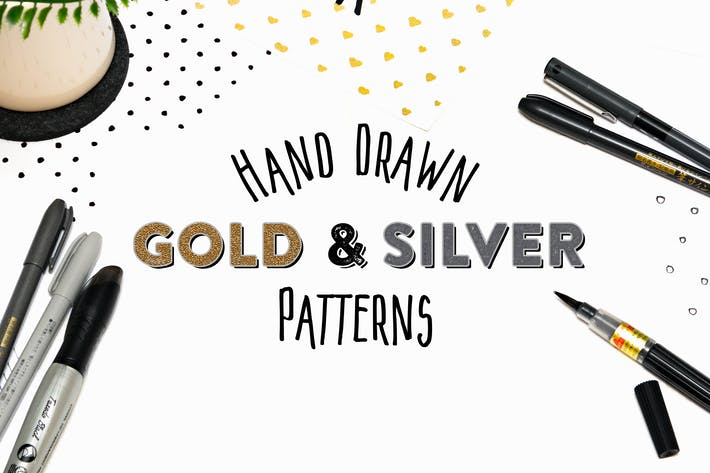 Cover Image For 15 Hand Drawn Gold & Silver Patterns