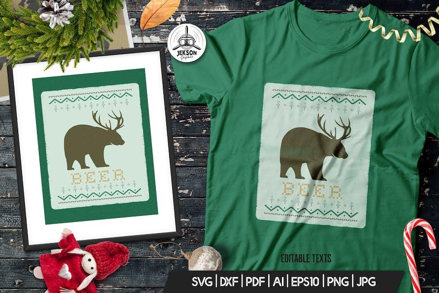 Funny Christmas Print T-Shirt Sweater. Beer Design