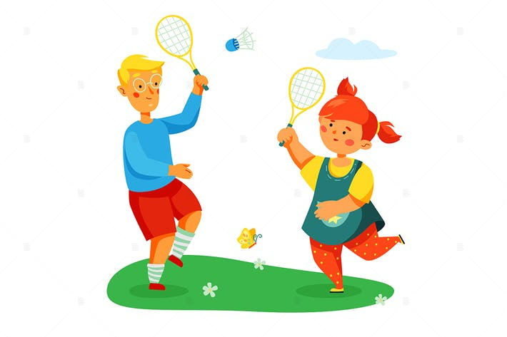 Children Playing Badminton - Colorful Illustration