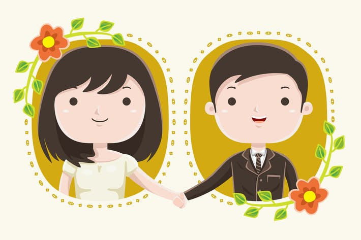 Thumbnail for Wedding Couple Cute Illustration