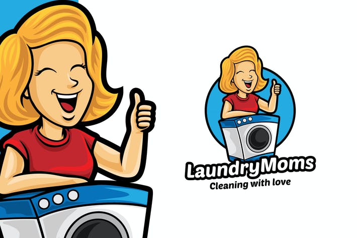 Thumbnail for Laundry Mom Logo Mascot Template