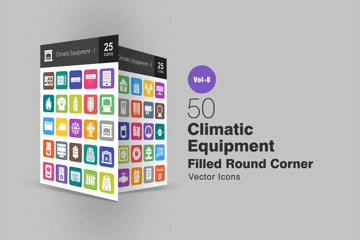 Thumbnail for 50 Climatic Equipment Filled Round Corner Icons