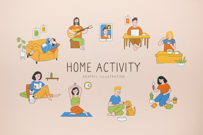 Thumbnail for Home Activity Graphic Illustration