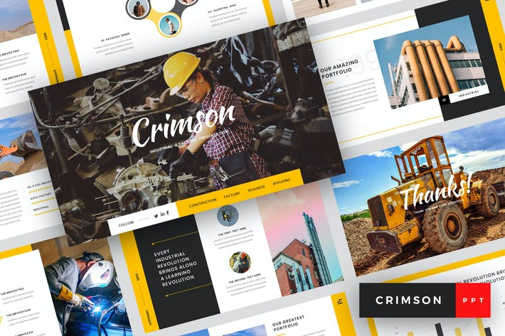 Thumbnail for Crimson - Industrial & Factory PowerPoint Template