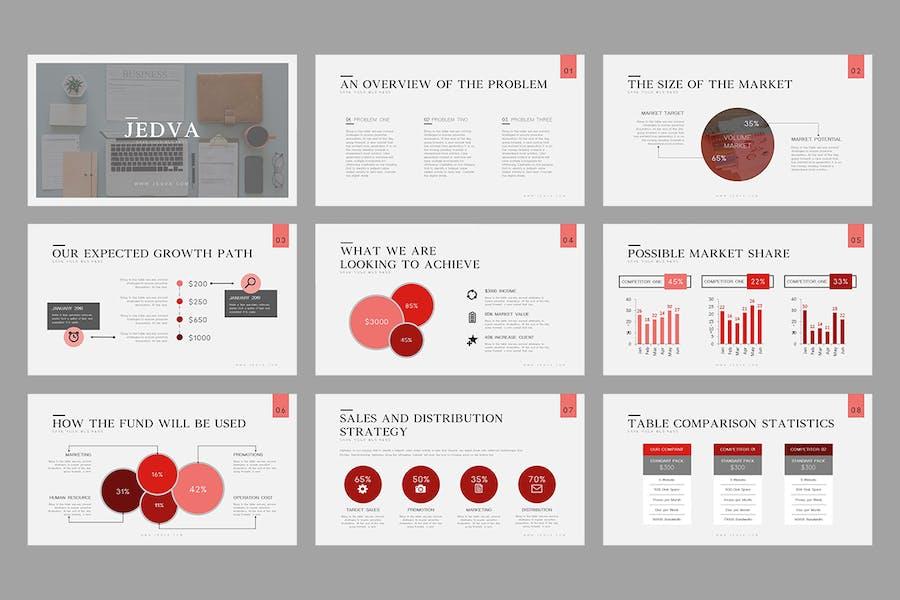 Jedva: Modèle Powerpoint de Pitch Deck