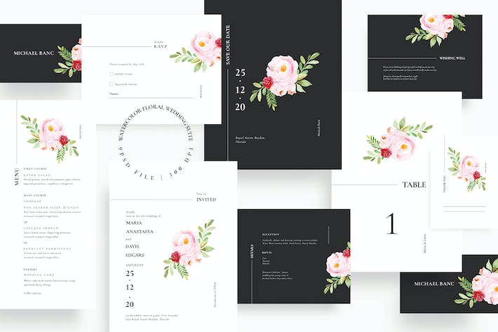 Thumbnail for Watercolor Floral Wedding Suite AE