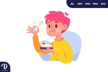 Junge isst süße Kuchen-Illustrationen