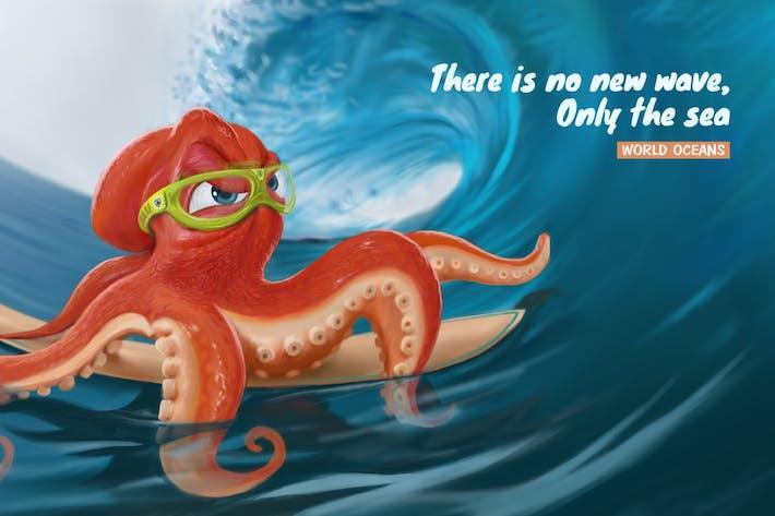 Thumbnail for Surf Octopus Peinture numérique dessinée à la main