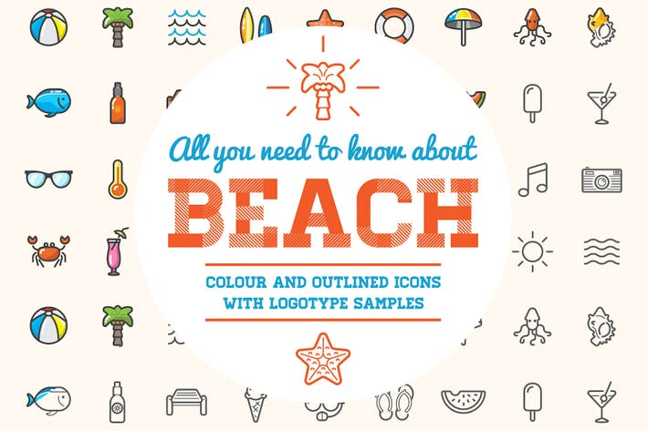 Thumbnail for Beach/Bar Icons and Logo Set