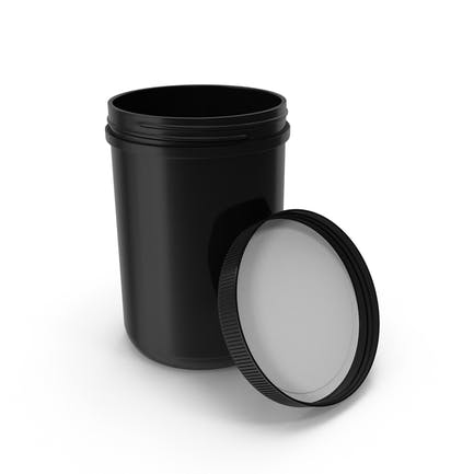 Plastic Jar Wide Mouth Straight Sided 70oz Open Black