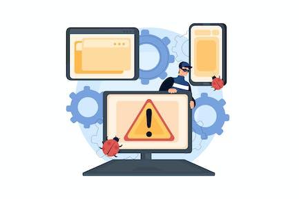 Internet Denial Of Service Attack Illustration Con
