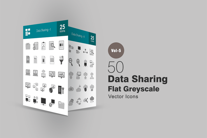 Thumbnail for 50 Data Sharing Greyscale Icons
