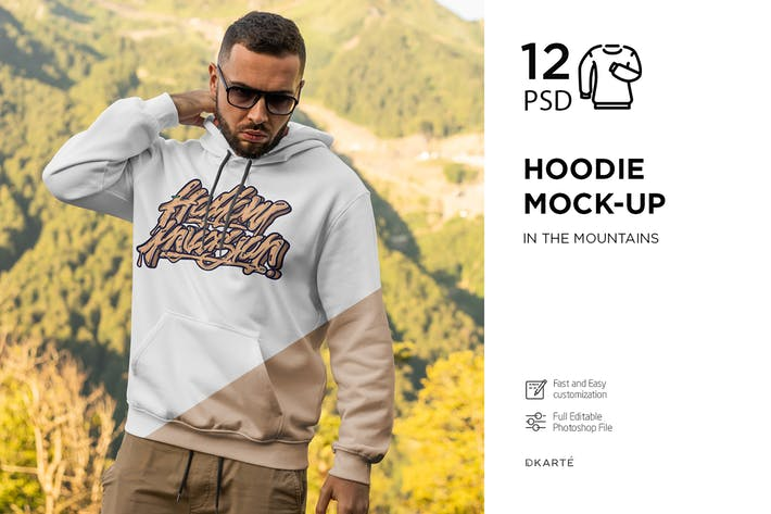 Thumbnail for Hoodie Mock-Up Mountains