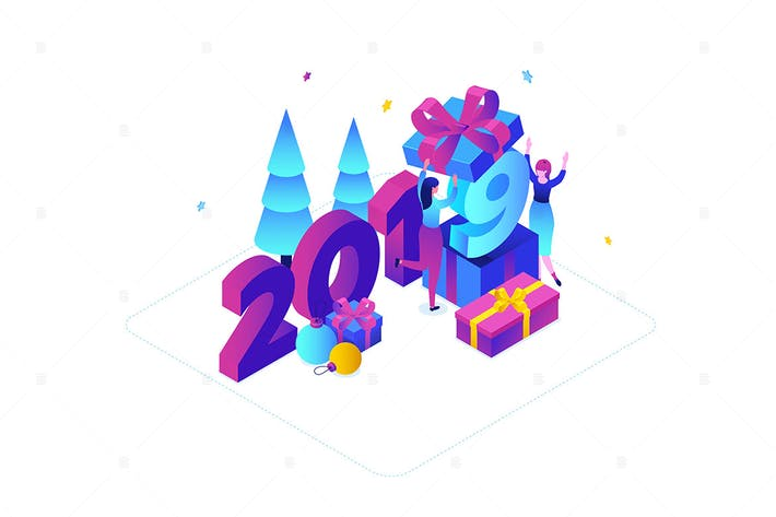 Thumbnail for Happy New Year - colorful isometric illustration