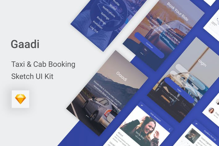 Thumbnail for Gaadi - Taxi & Cab Booking UI Kit for Sketch
