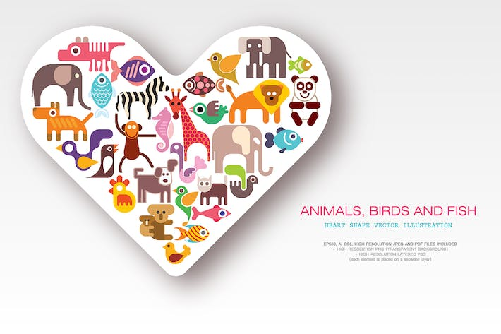 Thumbnail for Animals, Birds and Fish heart shape vector design