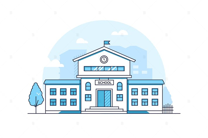 Thumbnail for School building - line design style illustration
