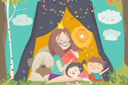 Mum and her kids reading book in a tepee tent in g