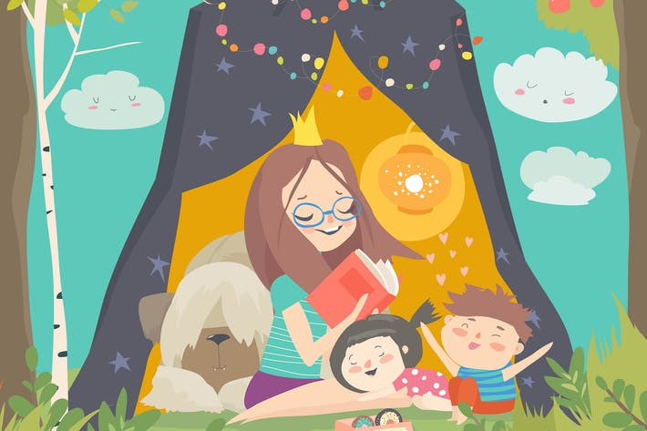 Cover Image For Mum and her kids reading book in a tepee tent in g