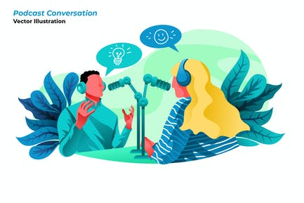 Podcast Conversation - Vector Illustration
