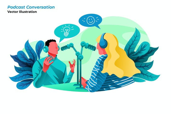 Thumbnail for Podcast Conversation - Vector Illustration