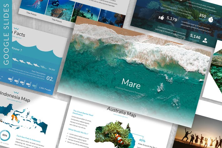 Thumbnail for Mare - Ocean Google Slides Template