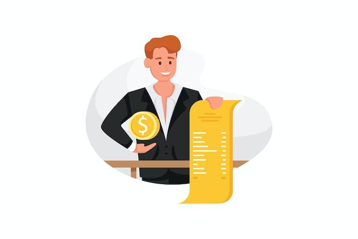 Thumbnail for Geschäftsmann braucht Hilfe unter vielen Rechnungen