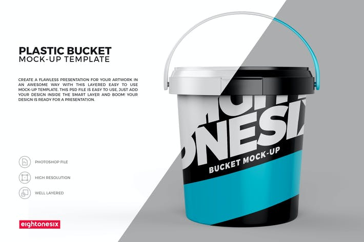 Thumbnail for Plastic Bucket Mock-Up Template