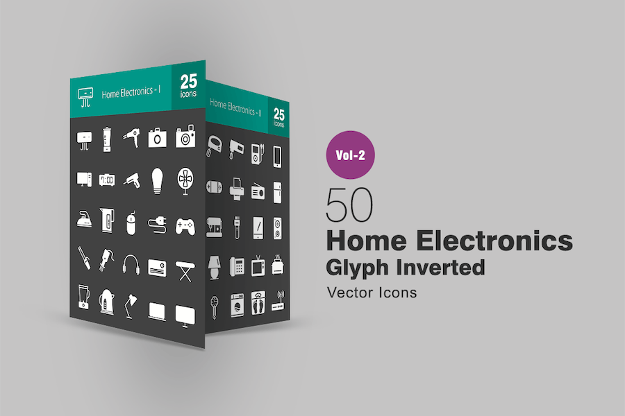 50 Home Electronics Glyph Inverted Icons