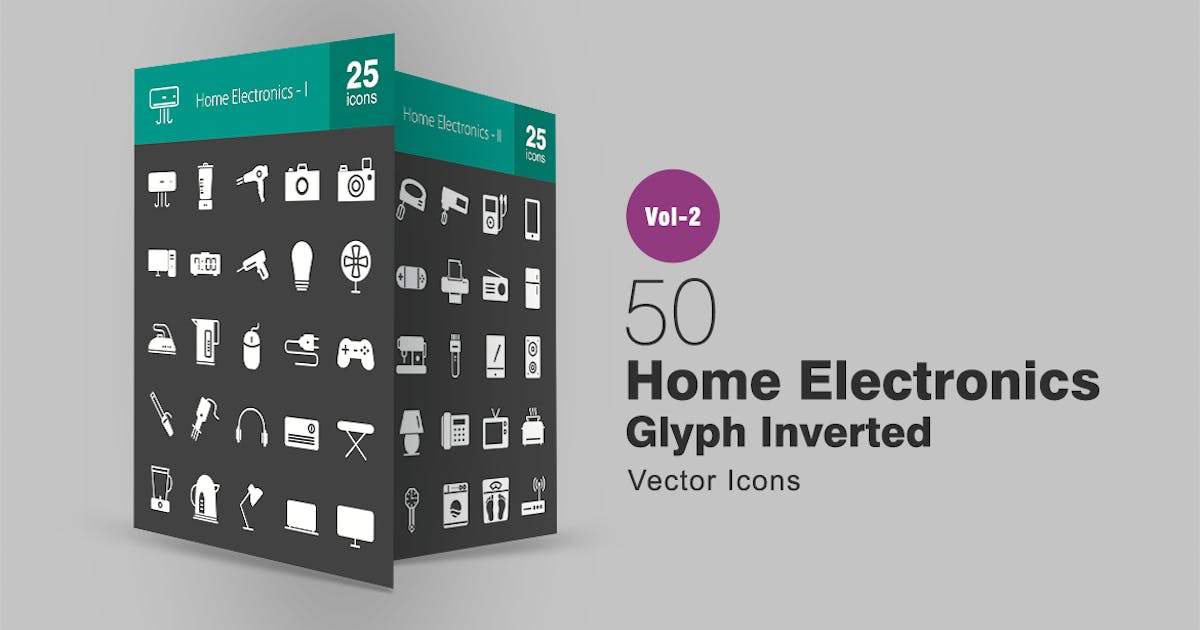 Download 50 Home Electronics Glyph Inverted Icons by IconBunny