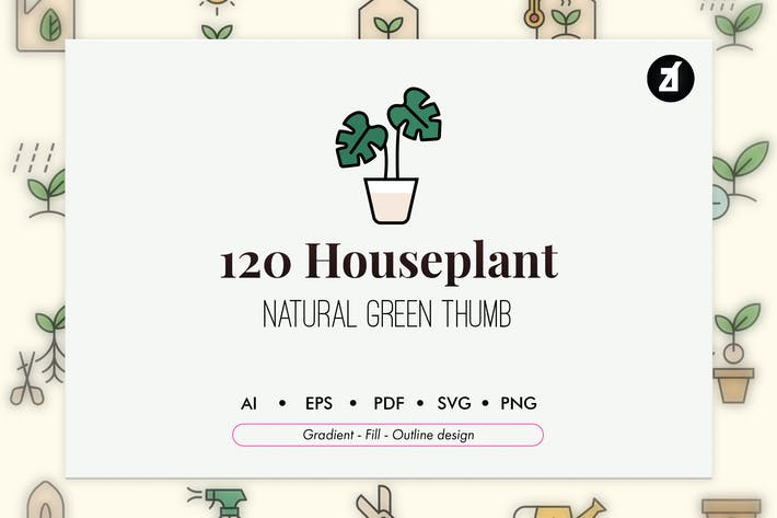 120 Planting and houseplant icon pack