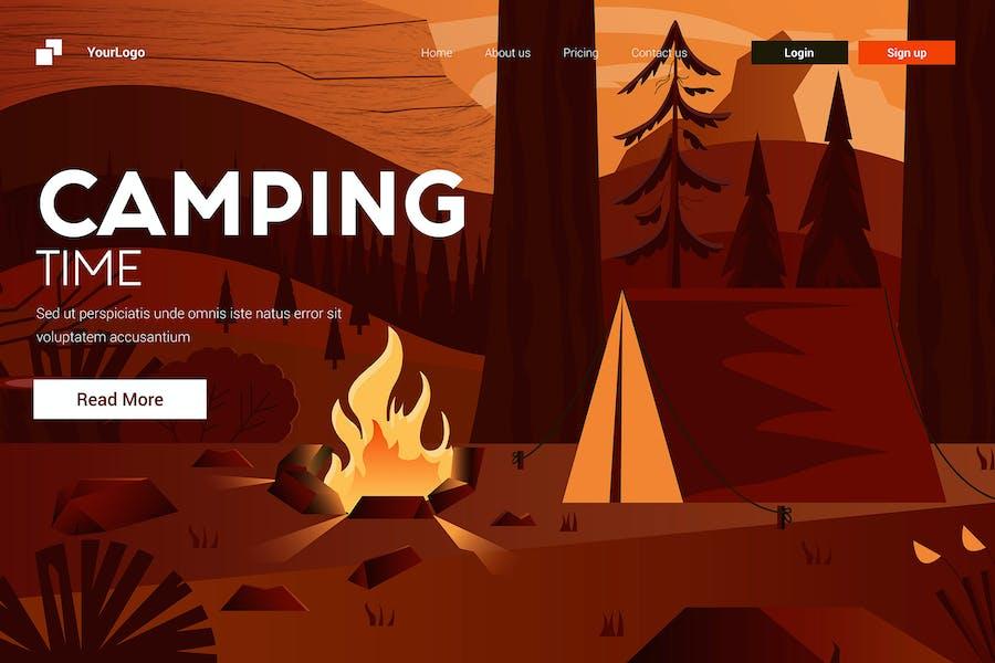 Flat Modern design Illustration of Camping